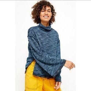 Free People Sunny Days Turtleneck Sweater Blue XS